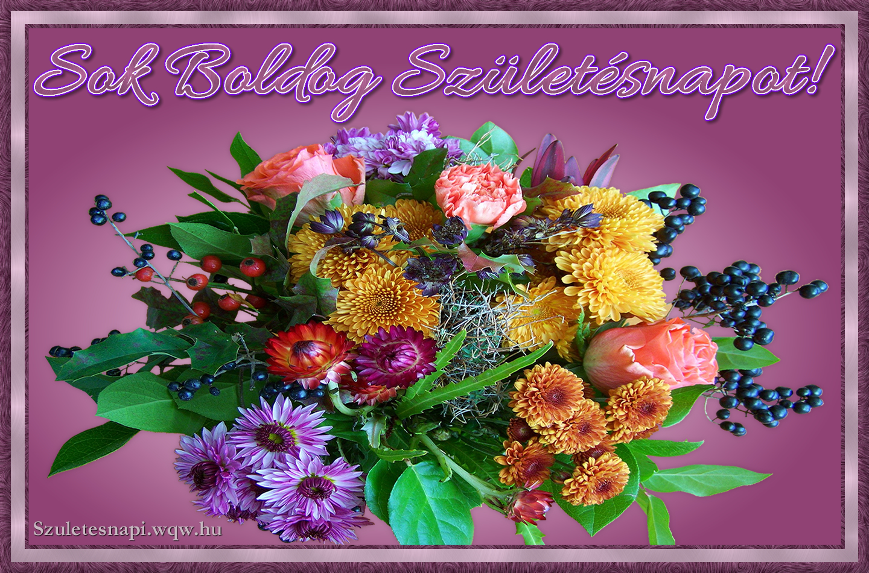 születésnapi virágcsokor Virágcsokor vegyes virágokból, születésnapi kép nőknek   Zenés  születésnapi virágcsokor
